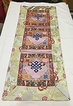 Tibetan white endless silk brocade table runner/shrine cover/altar cloth/table cover