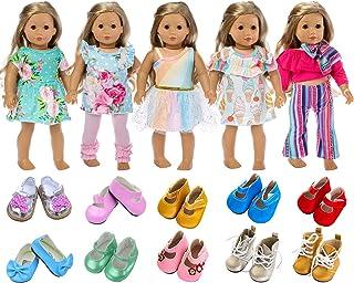 ملابس دمية للبنات مقاس 18 انش الامريكية، ملابس تنكرية مقاس 7 = 5 ملابس تنكرية يومية+2 حذاء بنمط عشوائي لملابس واكسسوارات ا...