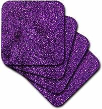 3dRose Florene Purple Sparkle Like Coaster, Soft, Set of 4