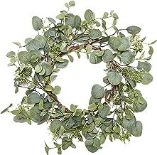 VGIA Green Leaf Eucalyptus Wreath for Festival Celebration Front Door/Wall/Fireplace Laurel/Eucalyptus Hanger Home Relaxed Decor