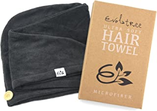 Microfiber Hair Towel Wrap - Quick Magic Hair Dry Hat - Anti Frizz Products For Curly Hair Drying Towels - Raven Grey