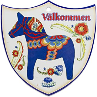 Essence of Europe Gifts E.H.G Decorative Swedish Blue Dala Horse Arwork with Valkommen Wall Hanging Ceramic Welcome 7.5