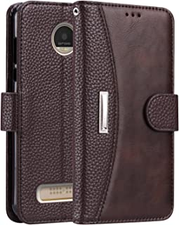 """IDOOLS Leather Wallet Phone Case for Moto Z2 Play,Folding Flip Cases Protective Cover Strong Magnetic Closure Protector with Card Slots Kickstand (Brown, 5.5"""")"""