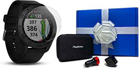Garmin Approach S60 (Black Band) Beat Yesterday Gift Box Bundle | +HD Screen Protectors, PlayBetter Car/Wall Adapters & Protective Hard Case | 41,000+ Courses, 010-01702-00 | Golf GPS Watch