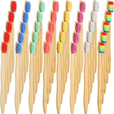 40 Pieces Bamboo Toothbrushes Charcoal Toothbrush Biodegradable Toothbrush Natural Bamboo Toothbrushes with BPA-Free Nylon Bristles (Multi-Color)