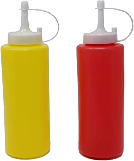 JVLM HOME Ketchup & Mustard Dispenser Condiment Set with Cap Refillable Yellow Red Bottles 13 oz