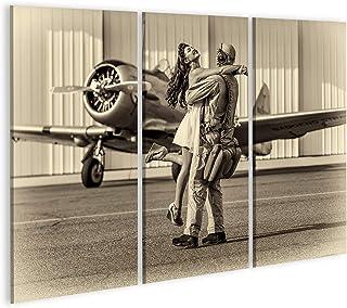islandburner, Cuadro Cuadros Una Modelo Morena en Ropa Vintage con un piloto y un avión de la Segunda Guerra Mundial. Impresión Lienzo Formato Grande Cuadros Modernos RPM