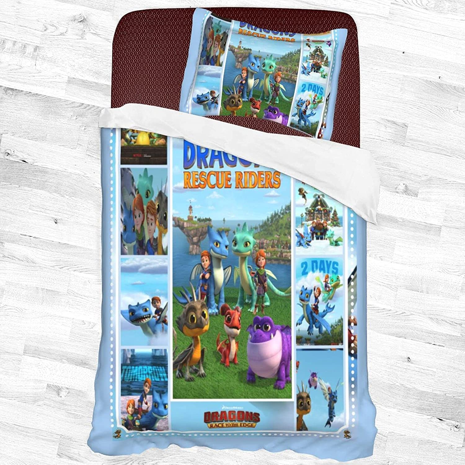 Dra.Gons Our shop OFFers the best service Re.Scue Ri.Ders Decorative 2 Same day shipping Piece Set P Bedding with 1