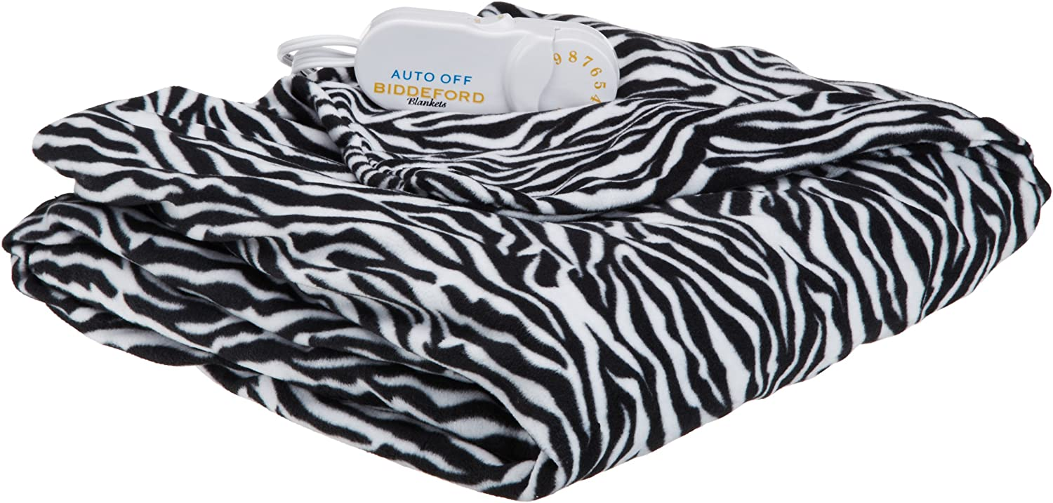 Biddeford Electric Heated Comfort Knit Throw, Zebra Print