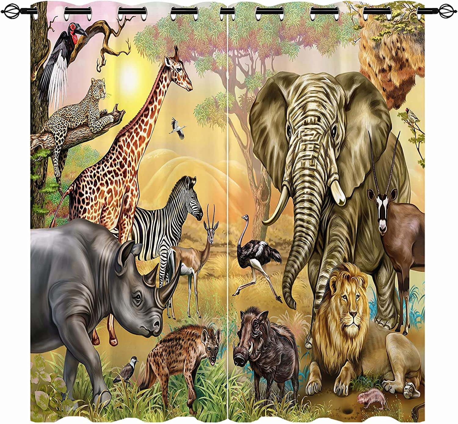 ANHOPE African Savannah Animals Blackout Kids Max 54% OFF - Limited Special Price Curtains Jungle