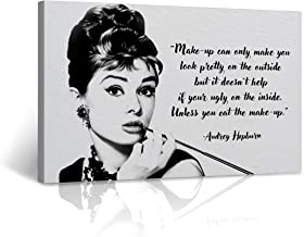 Famous Audrey Hepburn Wall Art Illustration Quote Black and White Breakfast at Tiffany's Movie Iconic Canvas Print Home Decoration Stretched - Ready to Hang -%100 Handmade in The USA - 8x12