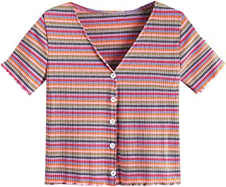 SheIn Women's V Neck Short Sleeve Buttoned Striped Tee Shirt Top