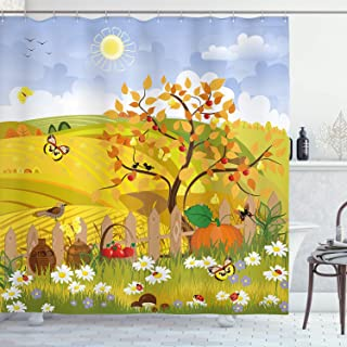 Ambesonne Fall Shower Curtain, Rural Scenery with Sun Butterflies Birds and Daisies on Field Kid Nursery Concept, Cloth Fabric Bathroom Decor Set with Hooks, 70