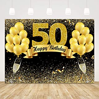 Happy 50th Birthday Backdrop for Adult Party Black and Gold 50 Birthday Background 7x5ft Balloons Sparkle Glitter 50th Birthday Backdrop for Men Women Fifty Birthday Party Decorations Photobooth Props
