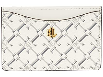LAUREN Ralph Lauren Coated Canvas Slim Card Case Medium (Vanilla Heritage Logo) Handbags