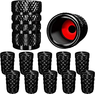 SAMIKIVA (12 Pack) Aluminum Tire Valve Stem Caps, Metal with Rubber Ring, Dust Proof Cover Universal fit for Cars, SUVs, Bike and Bicycle, Trucks, Motorcycles Metal (12 Pack) (12 Pack Black)