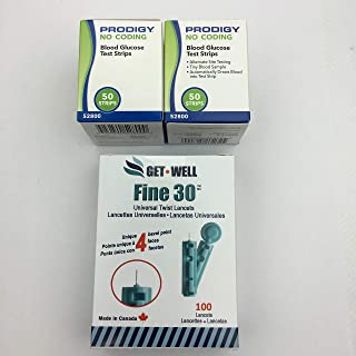 GET•Well Fine 30g Universal Twist Lancets 100 Ct. - Made in Canada ! Unique Quad Bevel Tip Offers Quick Healing & Less Pain ! 100 Ct. PRODIGY Blood Glucose Test Strips