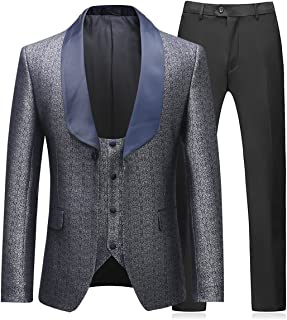 Boyland Mens 3 Piece Tuxedo Suits Dinner Party Prom Groom Tuxedos(Jacket+Vest+Pants)