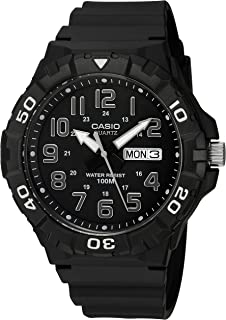 Men's Classic Quartz Watch with Resin Strap, Black, 20 (Model: MRW-210H-1AVCF)