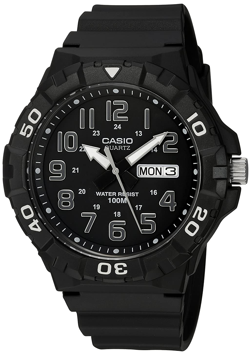 Casio Men's 'Diver Style' Quartz Resin Casual Watch, Color:Black (Model: MRW-210H-1AVCF)