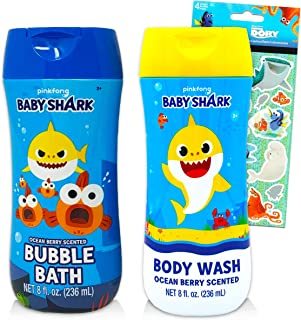 Baby Shark Bath Set for Kids Bundle ~ Baby Shark Body Wash and Bubble Bath with Finding Dory Stickers! (Baby Shark Bathroo...