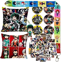 JKKFANS My Hero Academia Pillow Case Stickers Set for Anime Fans 2 Pack Pillow Case 50 Pcs Stickers 1 Pack Lanyard 6 Pack Button Pins 1 Pack Keychain