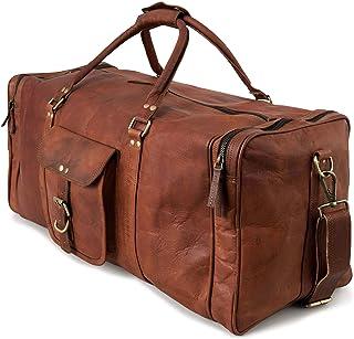 Berliner Bags Reisetasche New York XXL Weekender Sporttasche aus Leder Damen Herren Braun Vintage Groß 60l