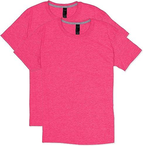 Hanes Hommes's 2 Pack X-Temp Perforhommece T-Shirt, Neon rose Heather, Medium