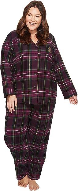 LAUREN Ralph Lauren - Plus Size Folded Brushed Twill Notch Collar Pajama