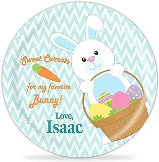 Kids Easter Plate - Blue Easter Bunny Basket Melamine Personalized Plate