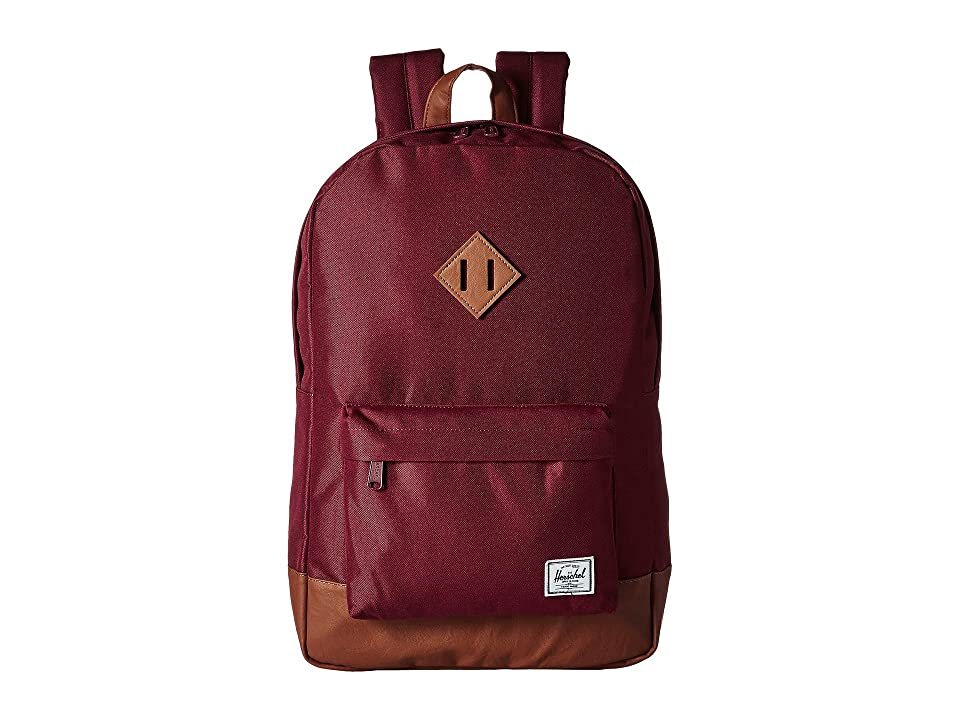 Herschel Supply Co. Heritage (Windsor Wine/Tan Synthetic Leather) Backpack Bags