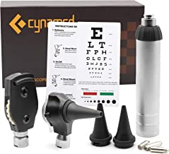 Cynamed 2-in-1 Ear Scope Set - Multi-Function Otoscope for Ear, Nose & Eye Examination- Professional Kit for Home and Medical Students - Sight Chart, Replacement Tips, and Carry Case