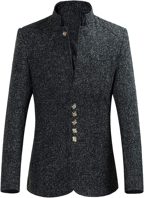 IHGTZS Men's Stand Collar Suit Men Casual Blazers Casual Mens Suit Jacket Single Breasted Mandarin Collar Suit Coat
