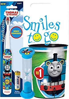 Thomas The Train Inspired 3pc Bright Smile Oral Hygiene Bundle! Sonic Powered Spin Toothbrush, Brushing Timer & Mouthwash Rinse Cup! Plus Dental Gift Bag & Tooth Saver Necklace!
