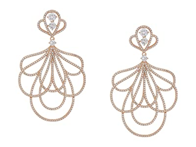 Nina Layered Petal Micro Pave CZ Earrings (Rose Gold/White CZ) Earring
