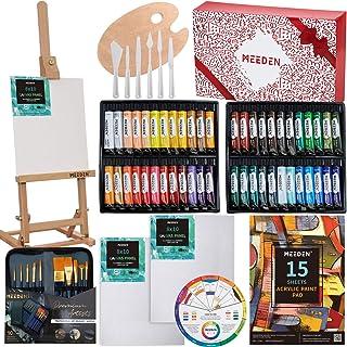 MEEDEN 71-Piece Acrylic Painting Set - Solid Beech Wood Table Easel, 48×22ML Acrylic Paint Set, Canvas Panels, Acrylic Pai...