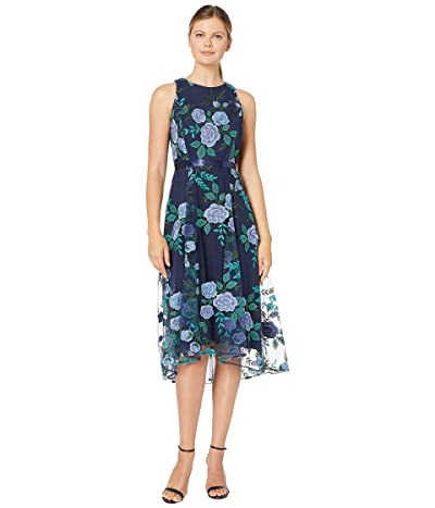 Tahari by ASL Embroidered Floral Mesh Dress w/ Ribbon Sash (Navy Blue/Green) Women