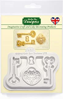 Katy Sue Decorative Keys and Locket Embellishment Silicone Mold for Cake Decorating, Crafts, Cupcakes, Sugarcraft, Candies, Chocolate, Card Making and Clay, Food Safe Approved, Made in The UK