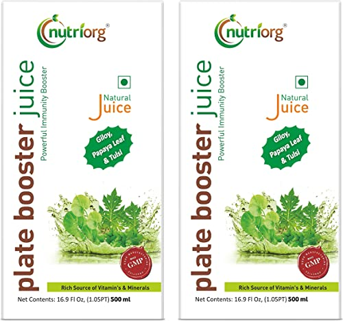 Nutriorg Plate Booster Juice 500ml Pack Of 2 Blended with 10 Ayurvedic Herbs No Added Sugar
