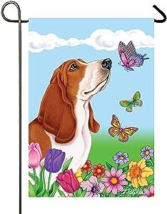 Basset Hound - Best of Breed Butterfly Garden Flag