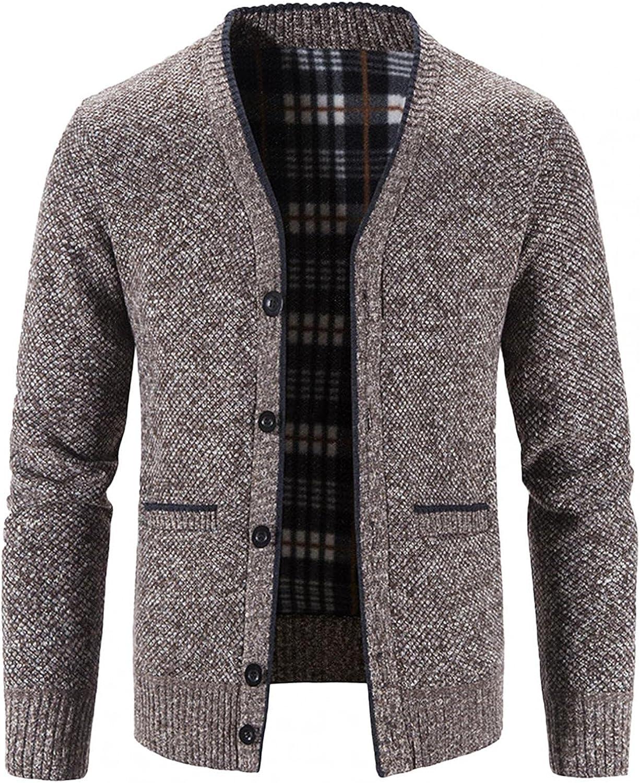 Men's Jacket Lightweight Cardigan Long Sleeve Coat Solid Color Button Pocket V-Neck Blouse Autumn &Winter