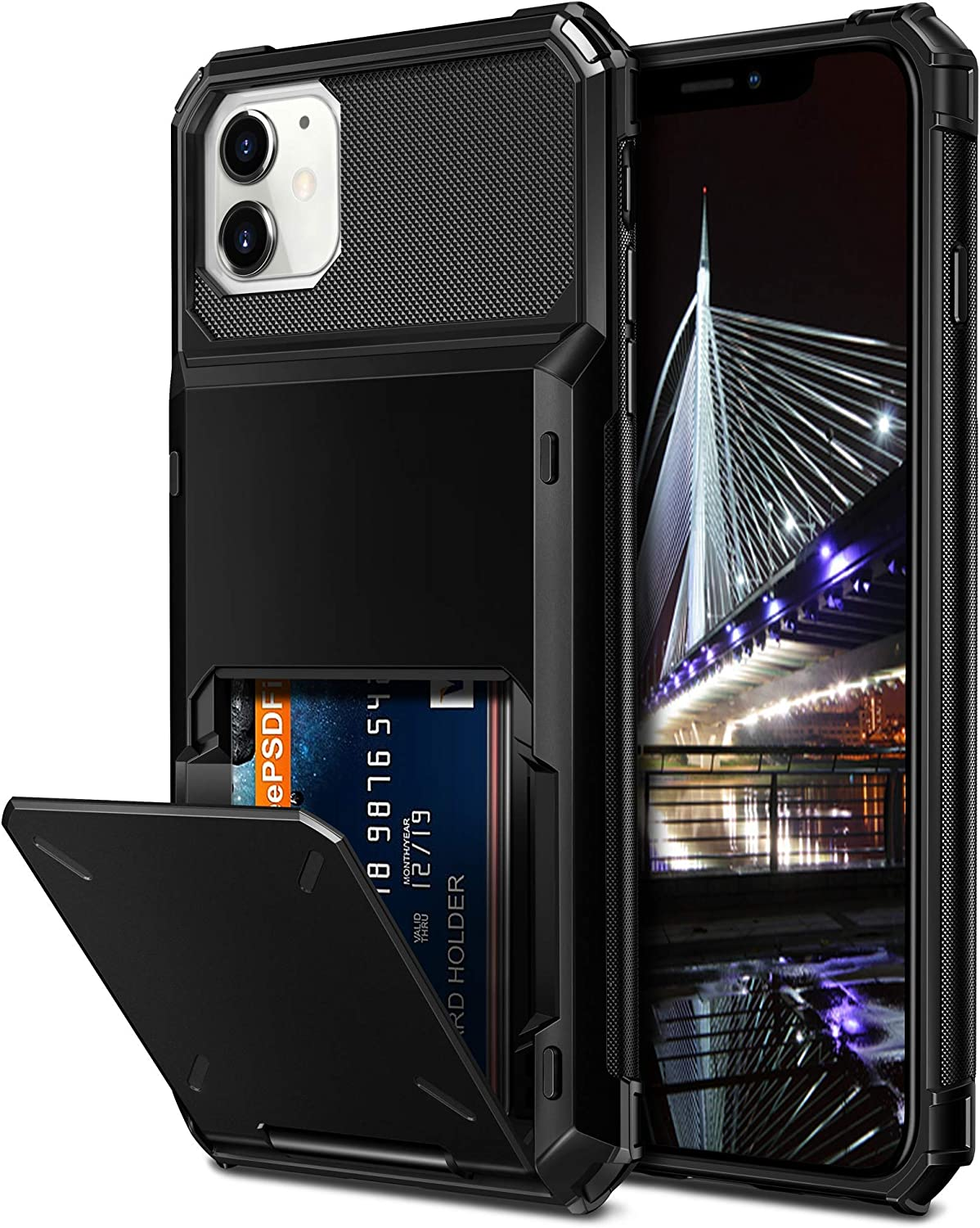 Vofolen Compatible with iPhone 12 Case 5G Wallet 12 Pro 4-Card Slot Credit Card Holder Flip Hidden Pocket Dual Layer Protective Back Cover Compatible with iPhone 12/12 Pro 5G 6.1inch Black