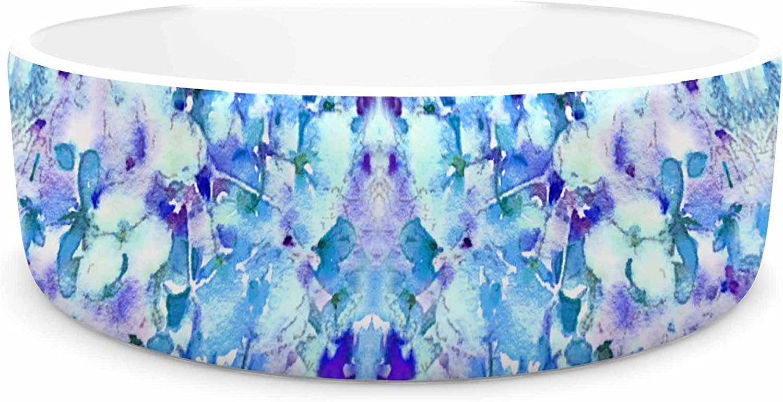 KESS InHouse Carolyn Greifeld Floral Fantasy bluee Reflection  Purple White Pet Bowl, 7