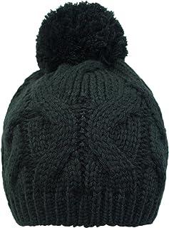 Luxury Divas Cable Knit Beanie Cap with Pom Pom