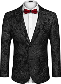 COOFANDY Men's Floral Tuxedo Jacket Rose Embroidered Suit Jacket Wedding Prom Dinner Party Blazer, Black, Large