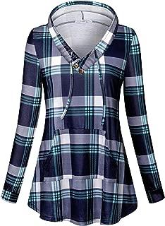 Womens Long Sleeve Plaid Hoodie Sweatshirts Tunic with Pocket