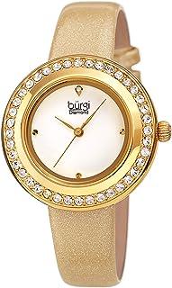 Swarovski Colored Crystal Watch - Genuine Diamond Marker on a Glittered Leather Strap Elegant Women's Wristwatch - Mothers Day Gift - BUR265