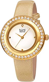 Burgi Swarovski Colored Crystal Watch - Genuine Diamond Marker on a Glittered Leather Strap Elegant Women's Wristwatch - Mothers Day Gift - BUR265