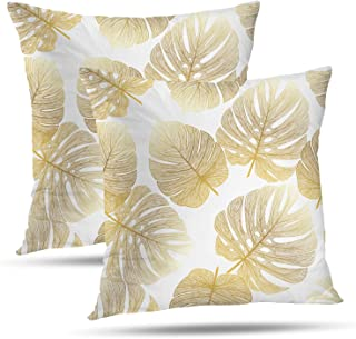 Batmerry Spring Pillows Decorative Throw Pillow Covers 18x18 Inch Set of 2, Tropical Monstera Palm Leaf Floral Print Fabric Double Sided Square Pillow Cases Pillowcase Sofa Cushion