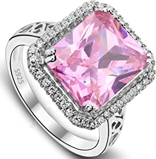 EVER FAITH Women's 925 Sterling Silver 5 Carats Radiant Cut CZ Elegant Ring Pink